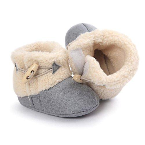 Clode® Kleinkind Baby Mädchen Warm Halten Schneestiefel Weiche Sohlen Krippe Schuhe Kleinkind-Stiefel Winterstiefel Grau