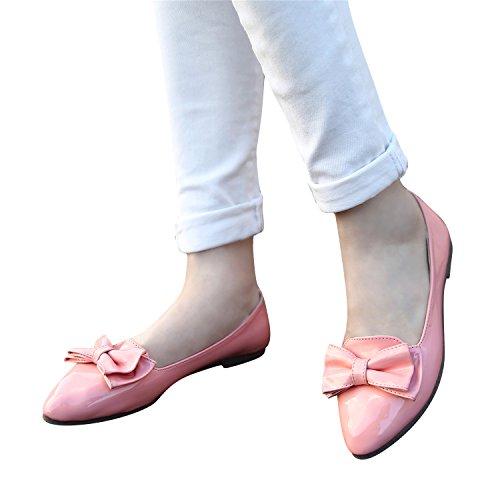Smilun Damen Ballerina Flach Ballett Schleife Glänzende Lackleder Pink