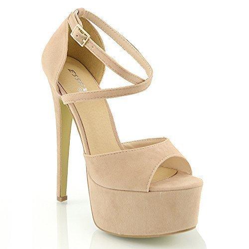 ESSEX GLAM - Damen Riemchen Plateau Sandalen Stiletto Absatz - 3 UK / 36 EU / 5 US, Hautfarben Wildlederimitat Sexy High Heel Prom Schuhe