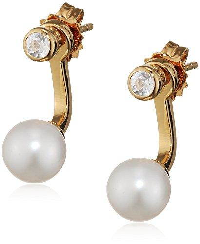 caï Damen-Ohrstecker Ear Jackets 925 Sterling Silber Topas weiß Süßwasser-Zuchtperle ca. 15 mm