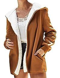 ✪ Chaqueta con Capucha de Invierno para Mujer de Forro Polar. ✪ Abrigo Abierto con Blusa de Manga Larga de Villus, cárdigan de algodón, para Exterior, Informal, Sudadera, Chaqueta