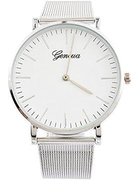 Souarts Paar Armbanduhr Geflochten Band Deko Uhr mit Batterie Charm Geschenk Silber Farbe