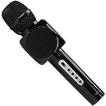 Micrófono Inalámbrico Portátil Bluetooth 2 Altavoces Incorporados para Karaoke 3.5mm AUX Compatible con PC/ iPad/ iPhone/ Smartphone (Negro)