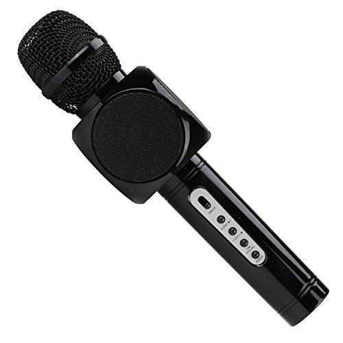 Microfono Karaoke portatile senza fili collegamento Bluetooth Speaker Player per divertimento, cantare e ascoltare musica, casa KTV compatibile con iPhone/Android Apple PC o smartphone, oro nero