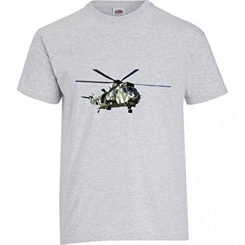 """T-Shirt """"HUBSCHRAUBER- HÄCKSLER- MILITÄRISCHE- FAHRZEUG- ARMEE- VERKEHR- TRANSPORT- FLUGZEUGE- ROTOR- FLUCHT- REISEN"""" in Grau für Herren- Damen- Kinder- 104- 5XL"""