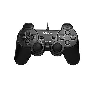Msonic MN3329BK Gamepad mit Vibration-Funktion für PC und PS3