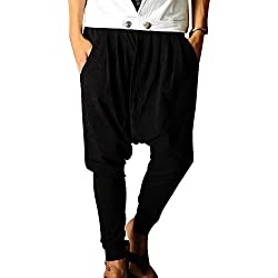 Minetom Hombres Pantalón Pantalones Harem Pantalones De Los Deportes Fitness Suelto Entrepierna Pantalones Negro EU S