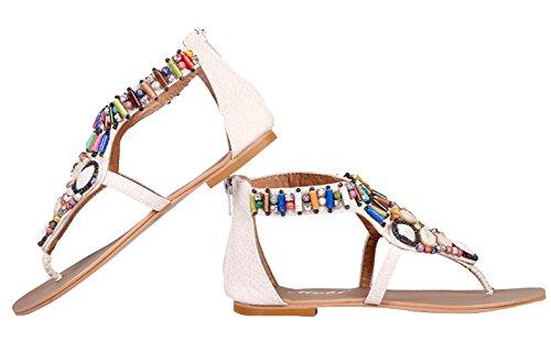 Y-BOA Bohême Sandales Plat T-Strap Nu-Pieds Femme Strass Chaussures de Plage Été Vintage Blanc