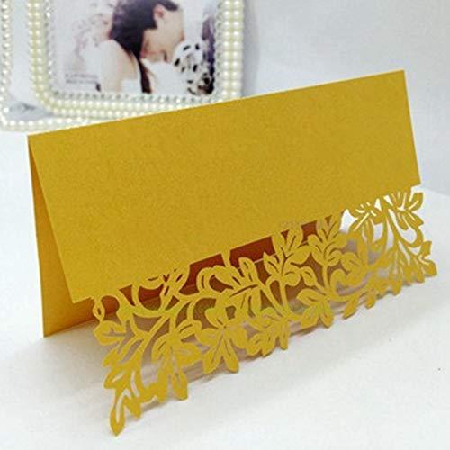 (Vazan - 25 Stück/Los höhlen heraus Luxus Tabellenname Platzkarten Hochzeit Weihnachten Geburtstags-Party laden Karten Tischdeko Favor [Gelb])