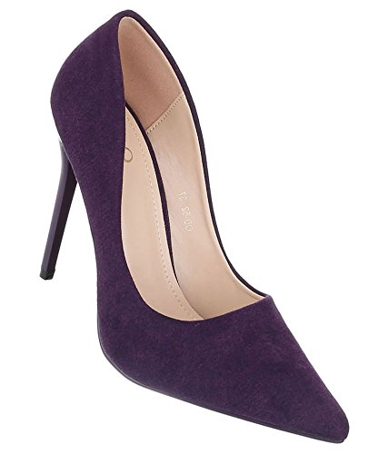 Damen Pumps Schuhe Elegant High Heels Dunkellila