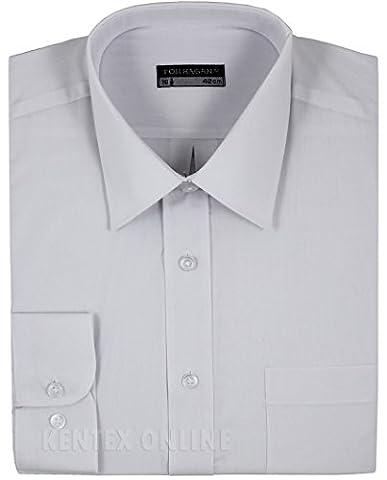 Mens Formal Shirts Long Sleeve Stylish Plain Coloured Big Sizes 15 to 18 (17.5 (44), White)