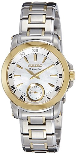 Seiko Premier – Reloj Analógico de Cuarzo para Mujer, correa de Acero inoxidable color Plateado