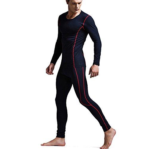 VENI MASEE Cotton Winter Underwear Set for Man Sports StyleTight Fit Baselayer Low Crew Neck -