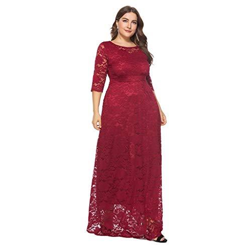 YUHUISTART Kleid Women Spring Solid Oversize Vintage Floral Abendkleid Lace Plus Size Cocktail Formal Swing Abendkleid