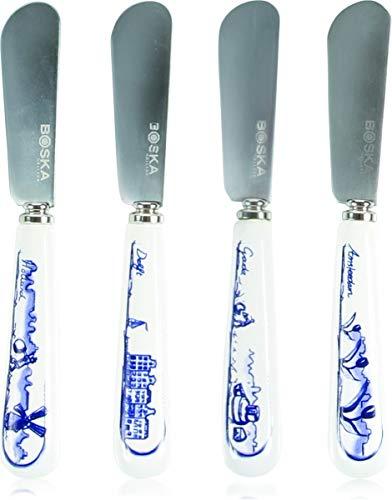 BOSKA 307083 Dutch Set 4 COUT A TARTINER 15X11X2.5CM, Acier Inoxydable, Bleu, 15 x 11 x 2 cm