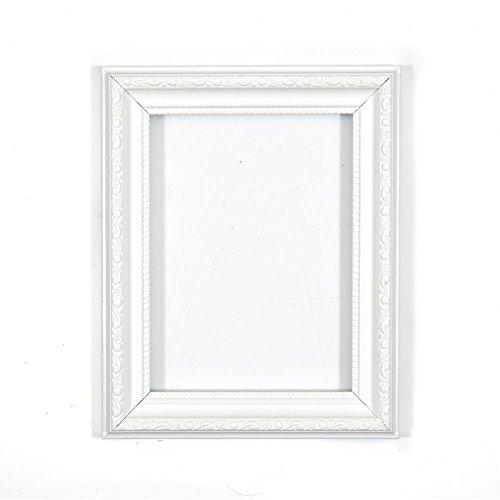 Verzierter Bilderrahmen im - Weiss 6 x 4 Zoll - Shabby Chic B/Foto/Posterrahmen - Mit Rückwand MDF Platte - Mit einem bruchsicheren Plexiglas aus Styrol für hohe Klarheit 4in Square Platte