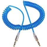 Demiawaking Flexible 3.5mm Car Jack M a M Estéreo Audio Cable de Cable AUX (Azul)