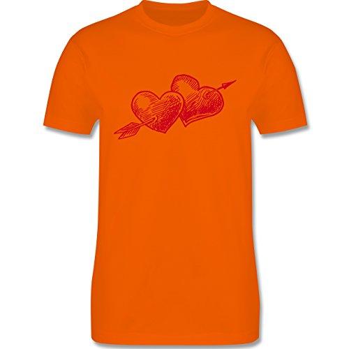 Valentinstag - Doppelherz mit Pfeil durch die Herzen - Herren Premium T-Shirt Orange