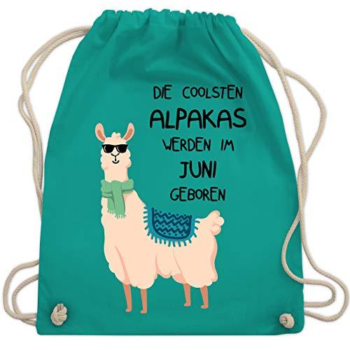 Geburtstag - Die coolsten Alpakas werden im Juni geboren Sonnenbrille - Unisize - Türkis - WM110 - Turnbeutel & Gym Bag