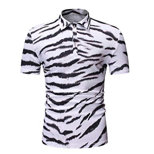 intage Tiger-Muster Print Kurzarm Umlegekragen T-Shirt Top Männer Sommer Casual Bluse Oberteile ()