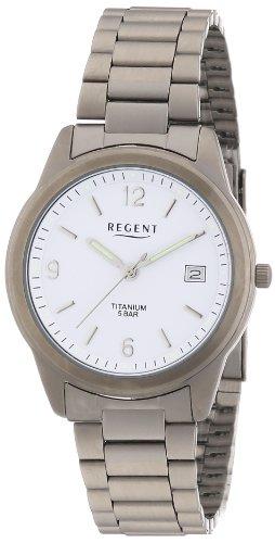 Regent 11090158 - Reloj analógico de cuarzo para hombre con correa de titanio, color gris
