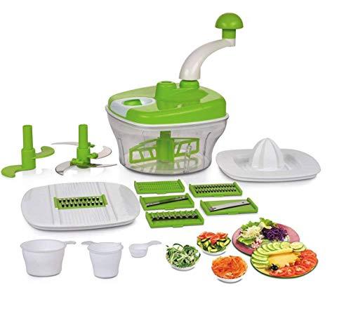 One-Stop-Shop Manual Food Processor - Chopper, Blender, Atta Maker, Dough Kneader,14 Pieces (Multicolor)