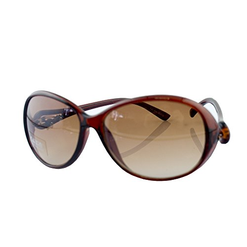 HAND H1045 A5 stilvolle Brown Frame Damen Mode Sonnenbrillen mit attraktiven Silber Ton Tempel Motiv - Breite an Tempeln 140 mm - 100% UV400 Schutz