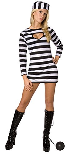 Sträfling Sexy Halloween Kostüme (Karneval Klamotten Sträfling Kostüm Damen sexy schwarz-weiß Sträflingskostüm Damen-Kostüm Größe)