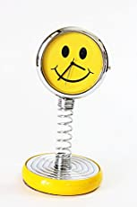 Laps of Luxury Yellow Color Smiley Spring Clock for Car Dashboard