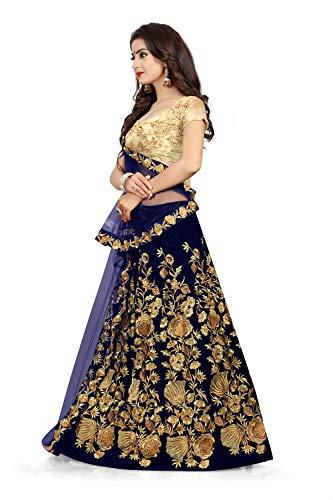 423442eb8 ... janvi sales navy blue velvet embroidered semi stitched lehenga choli  material with net dupatta ...