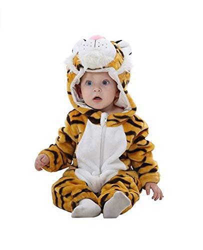 Trayosin Baby Flanell Winter Strampler Bekleidung, Mädchen und Junge Karikatur Tier Jumpsuit Kleinkind Baby Spielanzug (Tiger, 90cm(13-18Monate))