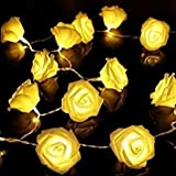 20 LED Battery Operated Rose Flower Fairy Lights Wedding Garden Party Christmas Decoration String Lights ,yellow