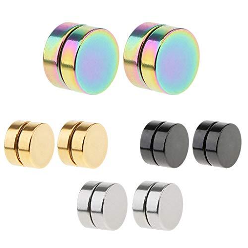 0 mm Edelstahl Herren Magnet Ohrringe Rund Magnetische Ohrstecker für Herren Damen - 8 mm ()