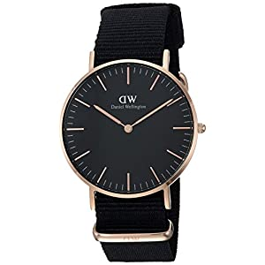 Daniel Wellington Classic Cornwall, Black/Rose Gold Watch, 36mm, NATO, for Women and Men