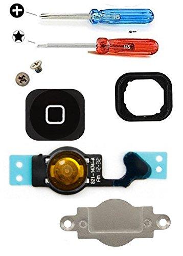 MMOBIEL® Home Button für iPhone 5 (Schwarz) Homebutton mit flexkabel Taste inkl. Metal Bracket Gummi Halterung und 2 x Schraubenzieher