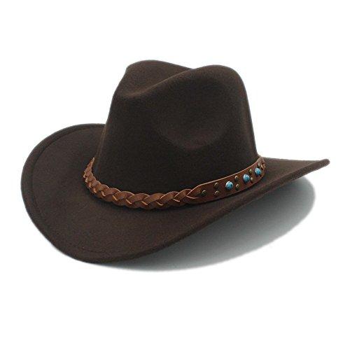 Baby Kostüm Western - Sunny&Baby Herren Western Cowboy Hut Damen Wolle Breiter Rand Cowgirl Jazz Hut Kirche Caps für Damen/Herren Mode (Color : 6, Size : 57-58CM)