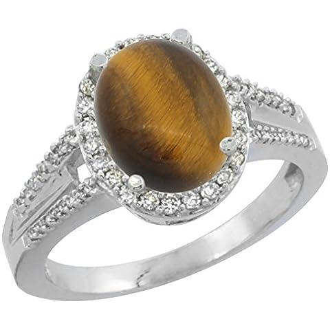 Revoni 14ct de oro blanco Natural del ojo del tigre anillo diamante Oval 10 x 8 mm acento