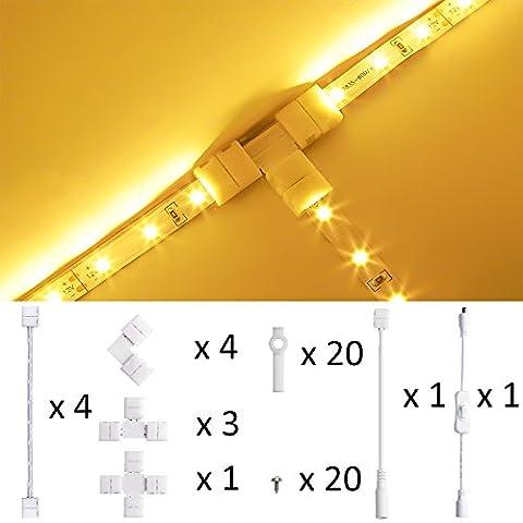 LEDMO Kit 8mm connectors LED strip light for white /