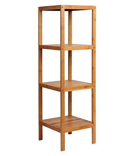 WOLTU Standregal Badregal Bücherregal Küchenregal Bambus 4 Ablagen RG9257m3