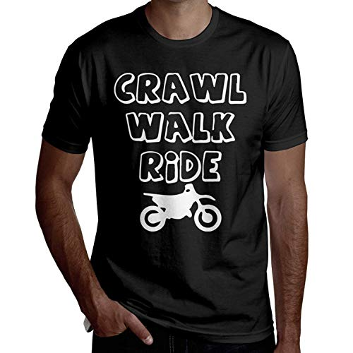 Herren Crawl Walk Ride 2 Kurzarm T-Shirts Lustige T-Shirts Coole T-Shirts Lässig Bedruckt(3X-Large,3X-Large) -