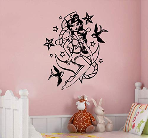 Retro Sailor Girl (Wandaufkleber Kinderzimmer wandaufkleber 3d Pin Up Seestil Retro Sexy Girl Sailor)
