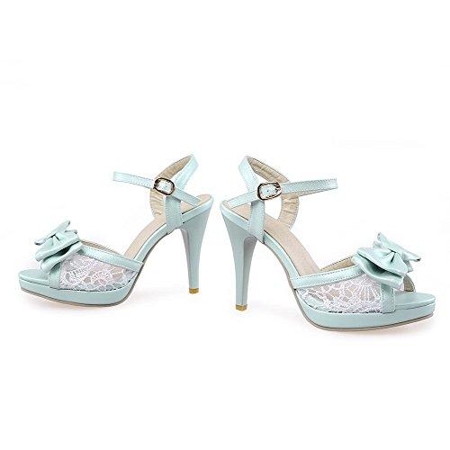 VogueZone009 Damen Fischkopf Schuhe Hoher Absatz Weiches Material Rein Schnalle Sandalen Mit Hohem Absatz Blau