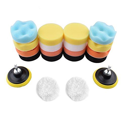 MEAOR 22Stück, 3cm, Schwamm und Wolle, zum Polieren, Set mit M10HSS-Adaptern für Auto-Polierer, abwischbar