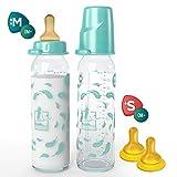 Lelekka® SPAR-SET 2 x Standard Glasflasche 240ml mit Rund Sauger aus Latex, Größe M (Milch ab Geburt) inkl. 2 x Trinksauger Größe S (Muttermilch, Tee & Pre-Nahrung) Naturlatex