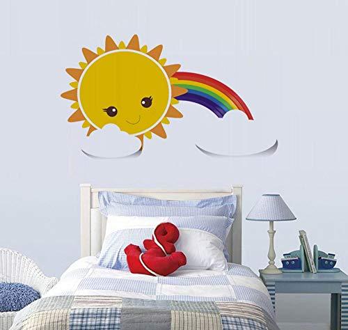 Wandaufkleber Wohnzimmer Wandaufkleber Schlafzimmer Wandaufkleber Kinderzimmer Diy Abnehmbare Lächeln Gesicht Sonne Weiße Wolken Regenbogen Kindergarten Aufkleber
