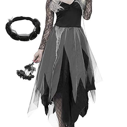 Surfmall Halloween Kostüm Damen Friedhofsbraut Zombiebraut Horror Geisterbraut Partykleid mit Kopfschmuck (XL)