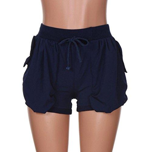 UFACE Frauen-Taschen-Spitze-Hosen-Art- und Weisefarben-Taschen Elastische Taillen Sommer-beiläufige Strand-Kurzschlüsse (L/(44), Marine) (Lammfell-tasche)