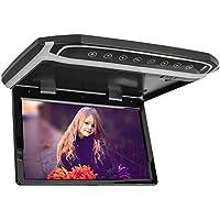 MiCarBa 10,1 Pulgadas Flip Down Monitor 1080P HD TFT LCD Overhead Car TV Pantallas Ultra Thin Roof Mount Monitor HDMI SD Reproductor de MP3 MP4 con botón LED retroiluminado y luz Ambiente (Negro)
