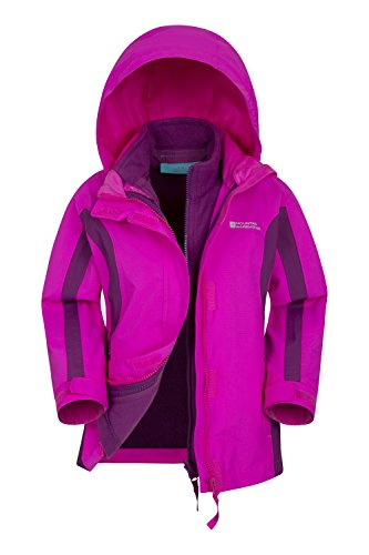 Mountain Warehouse Lightning Wasserdichte 3-in-1-Kinderjacke -Mantel + Fleece - Funktionsjacke Doppeljacke Winterjacke leuchtendes Pink 152 (11-12 Jahre)