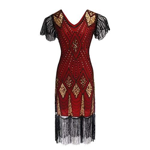 ESAILQ Damen Paillettenkleid Der 1920er Jahre Inspiriert Pailletten Perlen Lange Quaste EinsäTze Kleid(Small,Rot)